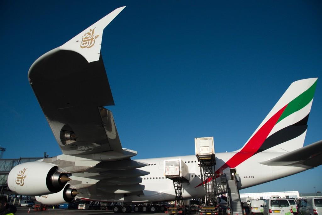 Flyet lastes til returrejsen til Dubai.
