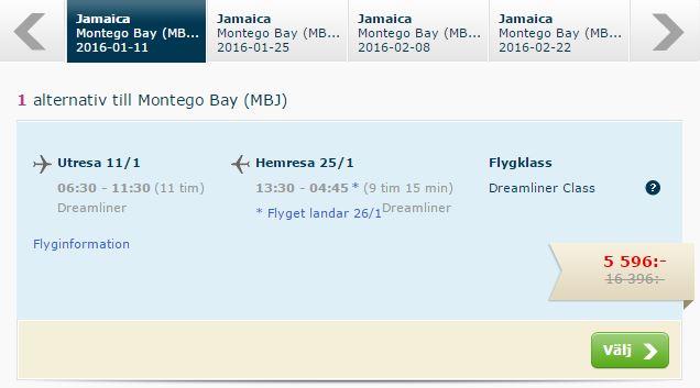 Prisen for 2 personer der skal fra København til Jamaica.