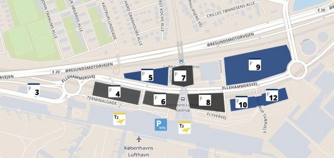 Oversigt over parkeringspladserne i Københavns Lufthavn. Kun pladserne P4 og P9 giver 20% rabat som CPH Advantage medlem.