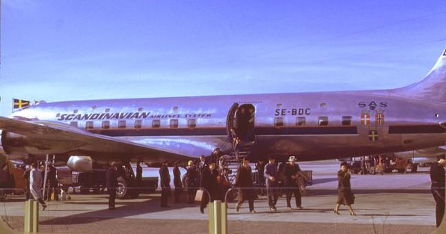 SAS DC6 som ble brukt på SAS' første rute til Los Angeles i 1952.