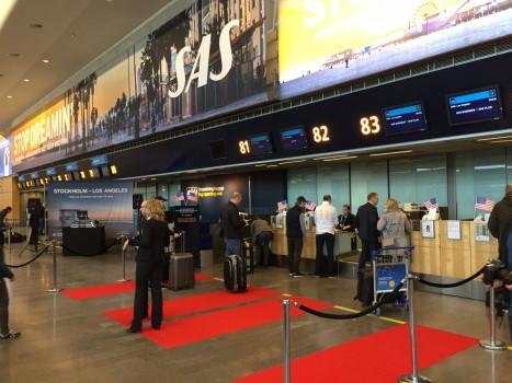 Den røde løber var rullet ud ved check-in i Stockholm inden første afgang til Los Angeles d. 14. marts 2016