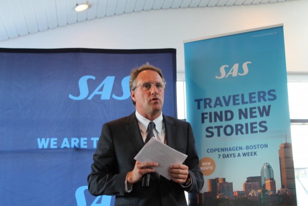 SAS-chef Lars Sandahl Sørensen holder tale inden første afgang til Boston.