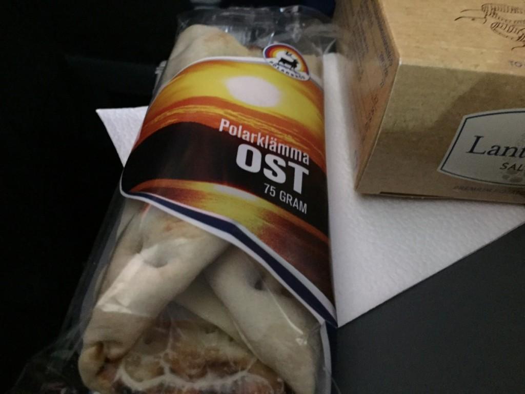 Polarsandwich samt chips, slik m.v. blev serveret cirka midtvejs.