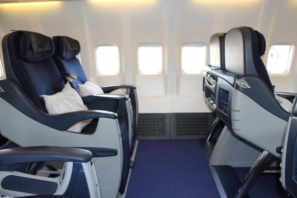 God sædeafstand på Business Class. På række 1 er den endnu større end de øvrige rækker.