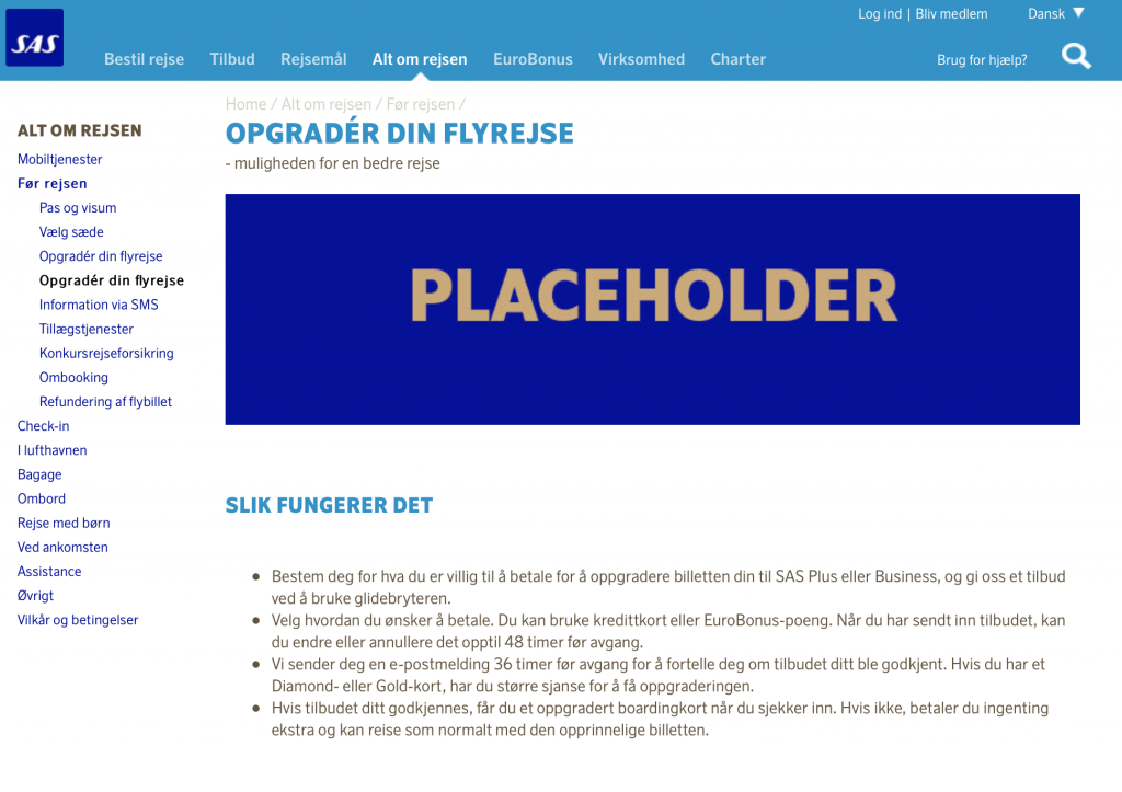 Screenshot fra SAS.dk