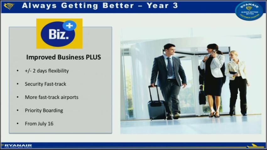 """""""Business Plus"""" produktet kommer fra juli 2016 ikke længere til at inkludere bagage. Derimod vil billetten blive mere fleksibel og der vil blive tilbudt fast track i flere lufthavne."""