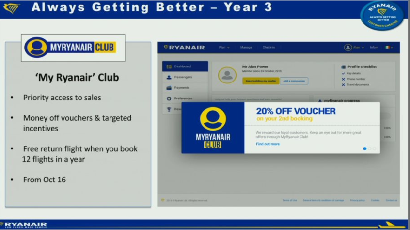 "Ryanair introducerer ""My Ryanair Club"" fra oktober 2016"