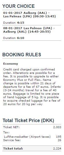 Priseksempel på returejse fra Aalborg til Las Palmas med Airnavia (pris fundet 8. juni 2016).