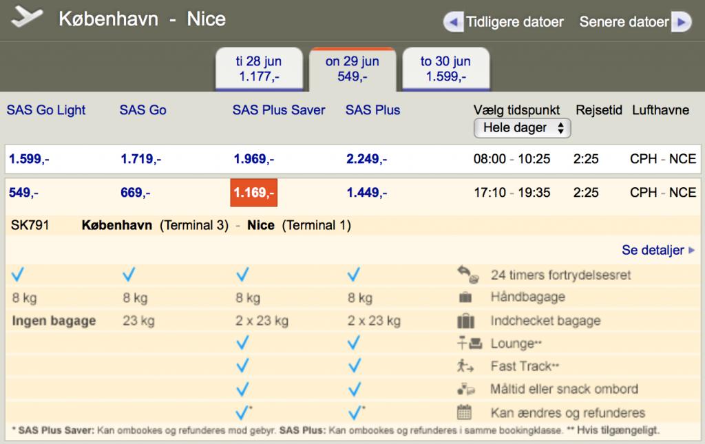 Priseksempel for den nye SAS Plus Saver, billettype på en flyvning mellem CPH-NCE
