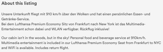"""Lufthansas beskrivelse af """"lejemålet"""""""
