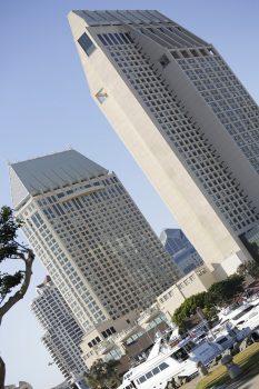Sådan ser Grand Hyatt ud. Det højeste af de to tårne er den højeste bygning langs USA's vestkyst.