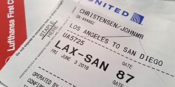 Boardinpass fra LAX til SAN. Oprindelig havde jeg et med Lufthansa, men det blev skiftet ud i Uniteds terminal.