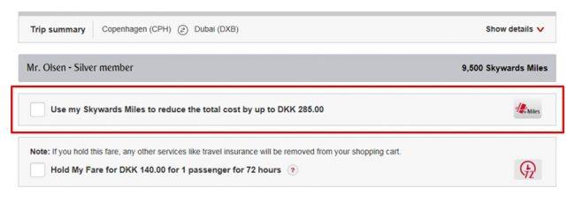 InsideFlyer DK - Emirates - Cash + Miles køb af billetter II