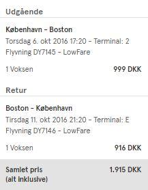 Eksempel på billig returbillet til Boston med Norwegian.