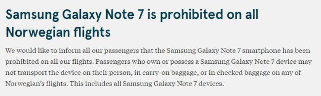 Norwegian forbyder Samsung Galaxy Note 7 på alle sine flyvninger og ikke kun til og fra USA.