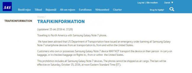 SAS forbyder indtil videre kun Samsung Galaxy Note 7 på rejser til/fra USA. Men et forbud på alle flyvninger er på vej.