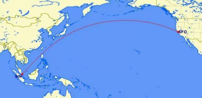 Den nye Singapore til San Francisco rute fra Singapore Airlines. Rutestarten er oktober 2016.