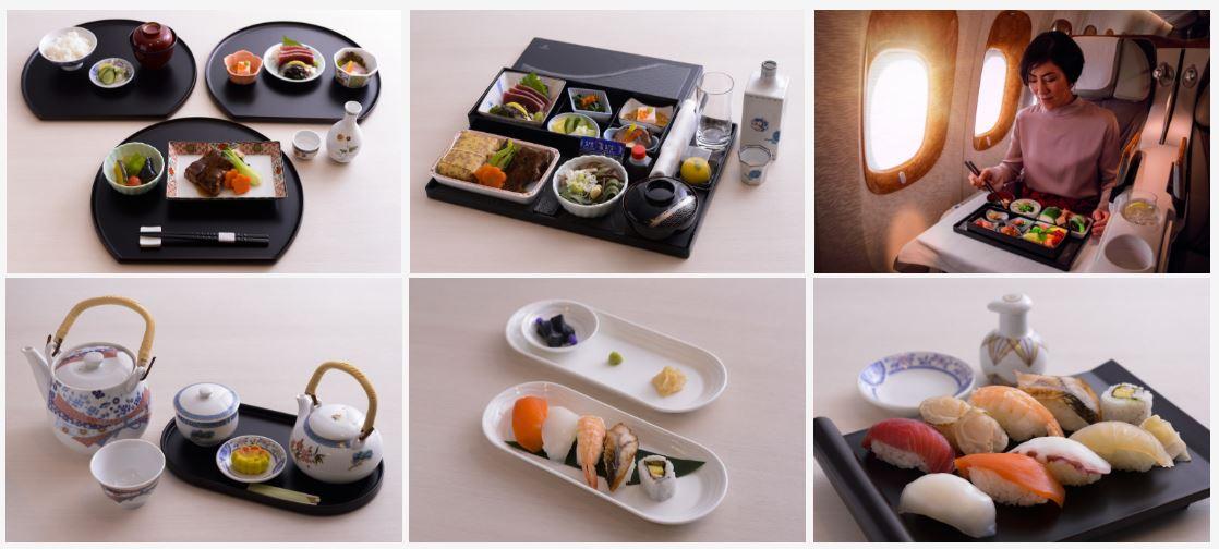 Et udvalg af de nye japanske menuer som Emirates nu tilbyder mellem Dubai og Japan.