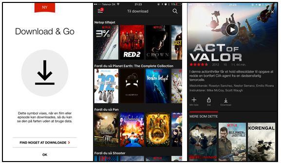 Sådan ser de opdaterede skræmbilleder ud i Netflix med den nye download funktion.