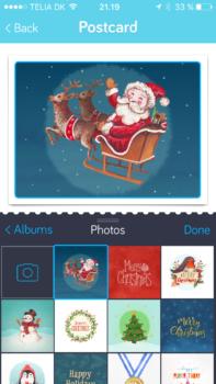 Valg af billede(r) til dit postkort