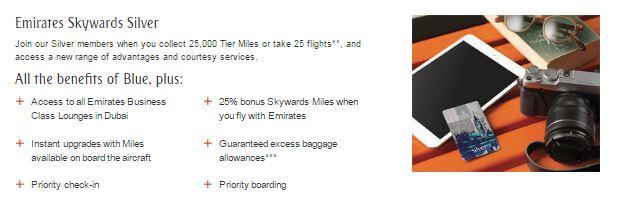 Emirates Skywards Sølv kort fordelene.