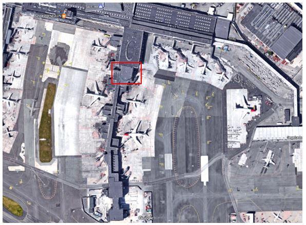 """Google map billede af placeringen af den nye Menzies Aviation Eventyr Lounge på """"toppen af"""" C-fingeren."""