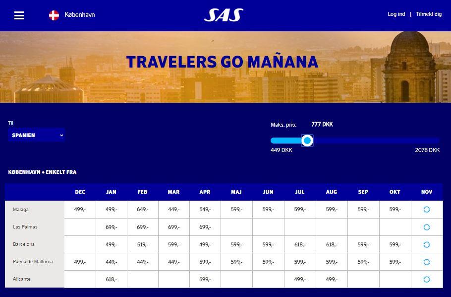 SAS goes Mañana med tilbud på rejser til Spanien.
