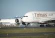Emirates Airbus A380 lander i København