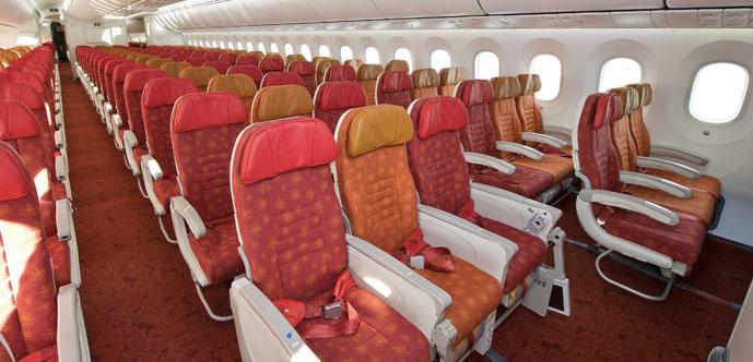 Air India Economy Class kabinen ombord på deres Boeing 787 Dreamliner.
