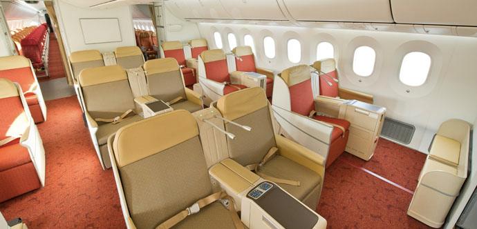 Air India Business Class kabinen ombord på deres Boeing 787 Dreamliner.
