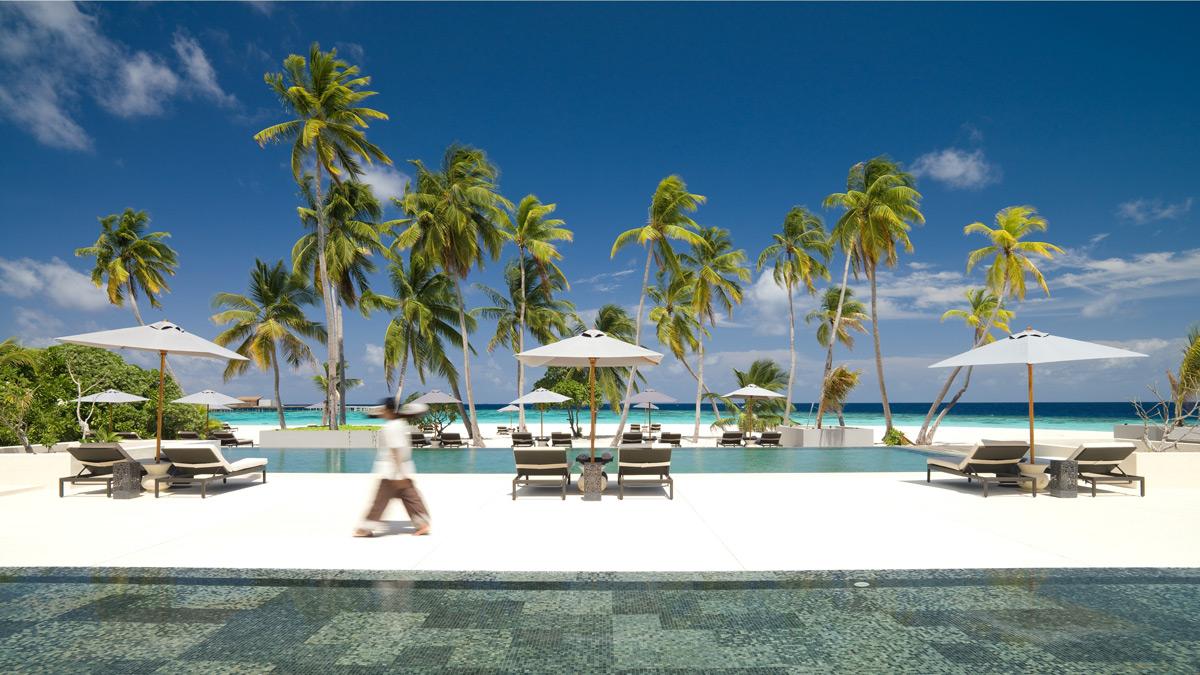 Stranden på Park Hyatt Maldiverne.