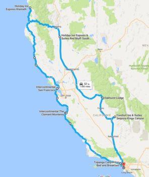 Vores rute igennem Californien