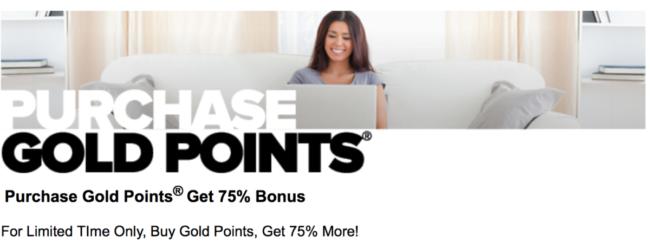 Club Carlson Gold Point 75% bonus