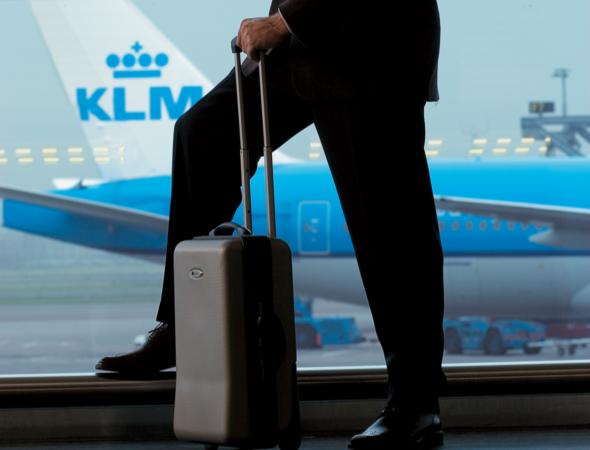 Selvbetjening for at melde bagage tabt hos KLM