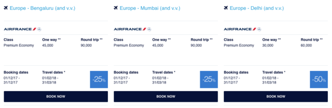 Flying Blue promo awards - December 2017 - Indien