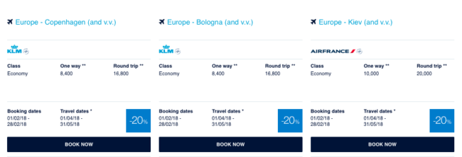 Flying Blue promo awards - februar 2018 - Europa