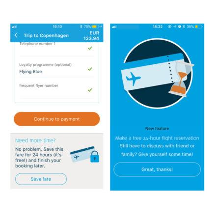 Skærmbillede af KLM app