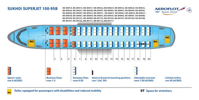 Sædeinddeling på et Superjet 100-95B (Kilde: Aeroflot)