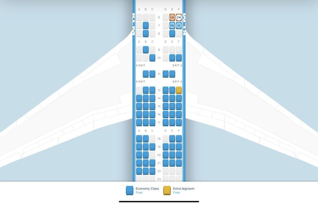 Den fornyede seatmap i KLM app (Billede: KLM / Apple App Store)