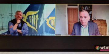 Ryanairs administrerende direktør Michael O'Leary interviewes af John Strickland