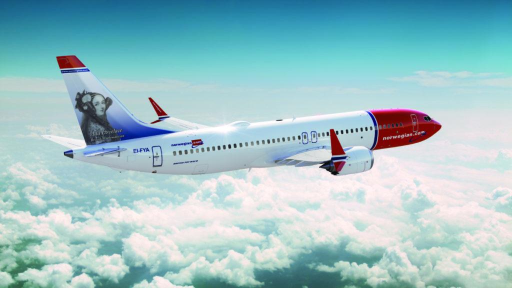 Norwegian Boeing 737 MAX 8 med Ada Lovelace på halen (Billede: Norwegian)