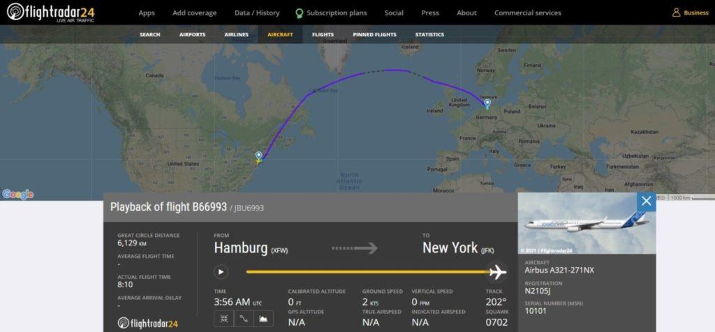 JetBlue - Nyeste A321neo leveret februar 2021