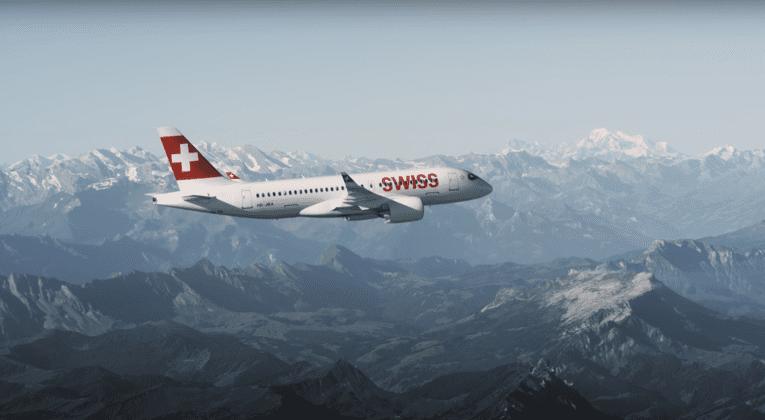 Swiss Plane in Flight
